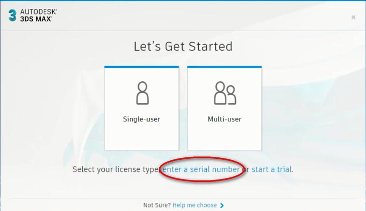 Chọn Enter a serial number để tiến hành Crack Autodesk 3DS Max