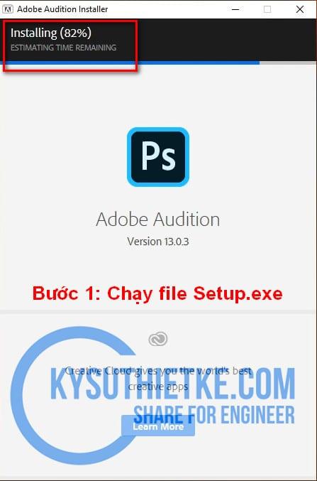Bắt đầu cài đặt phần mềm Adobe Audition full Active