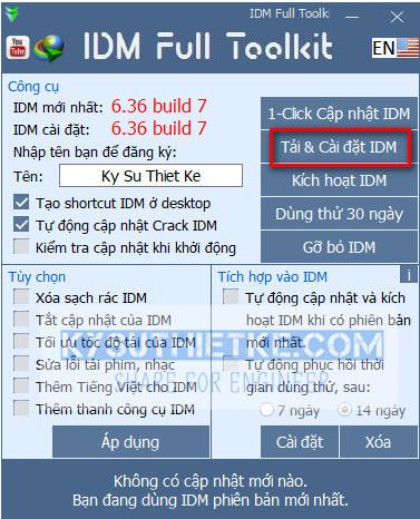 Tải và cài đặt IDM mới nhất bằng Toolkit