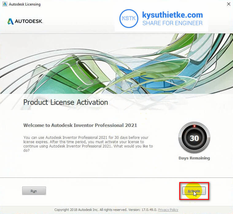 Kích hoạt bản quyền Autodesk Inventor 2021 - Chọn Active