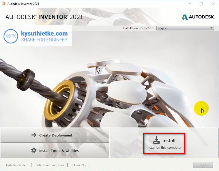 Cài đặt Autodesk Inventor 2021 - Bắt đầu Install
