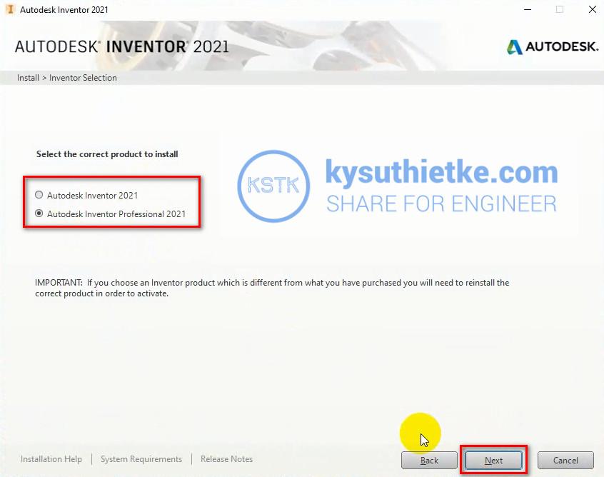 Cài đặt Autodesk Inventor 2021 - Chọn phiên bản
