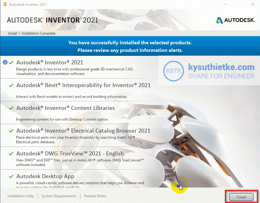 Cài đặt Autodesk Inventor 2021 - Finish Install
